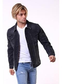 LTC Jeans Omuz Detay Yıkamalı Füme Erkek Kot Ceket